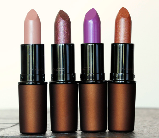 MAC Temperature Rising Lipsticks from the left: Altered Beige, Caliente, Feel My Pulse and Sheer Seduction