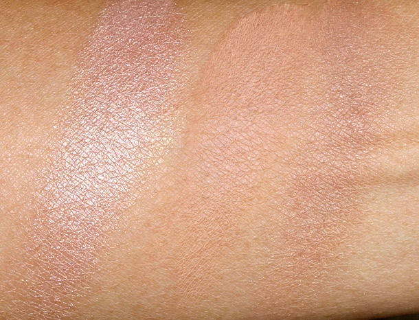 Too Faced Bronzers Swatches from the left: Pink Leopard, Bronzed and Poreless and Endless Summer