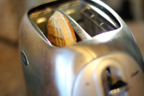 Toast a whole wheat waffle