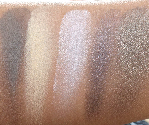 MAC By Request Spring 2014 Eye Shadow Swatches from the left: Ashbury, Butterscotch, Chill, Deisel and Fiction