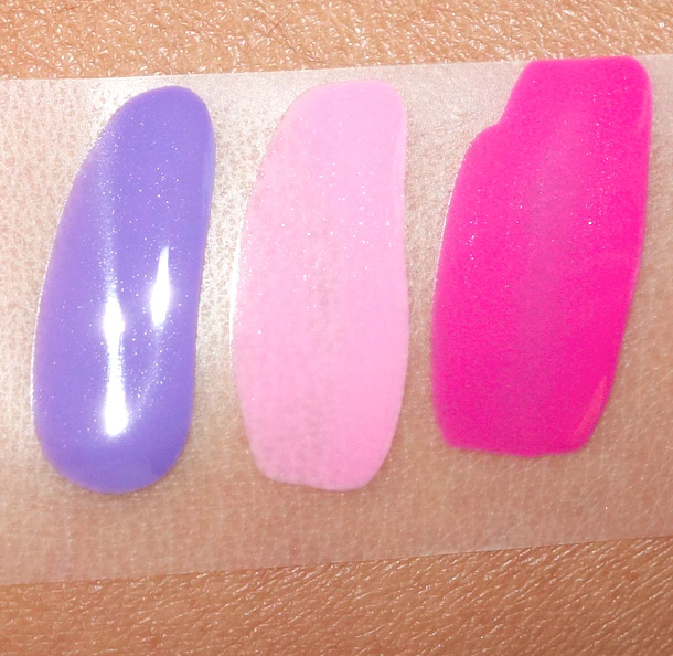 Milani Purple Martin 870, Strawberry Shake 871 and Raspberry Delight 872