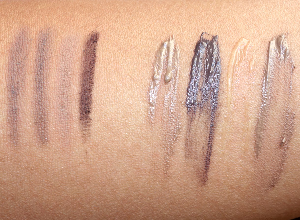 NARS swatches from the left: Brow Perfector in Caucase, Kalmata, Salzbourg and Suriname; Brow Gels in Athens, Kinshasa, Oural and Piraeus