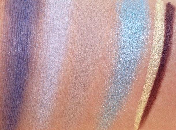 NARS Fall 2013 Swatches from the left: Kamchatka Eyeshadow, Namibia Eyeshadow, Yamal Eyeshadow, Bavaria Eyeshadow, Las Ramblas Larger Than life Long-Wear Eyeliner, Via De'Martelli Larger Than Life Long-Wear Eyeliner