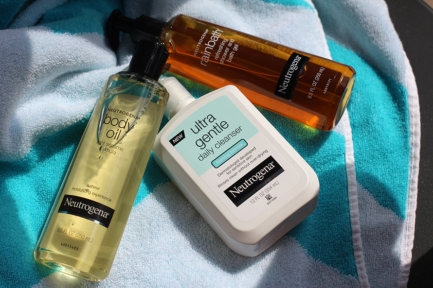 Neutrogena Body Oil, Ultra Gentle Daily Cleanser and Rainbath Shower Gel