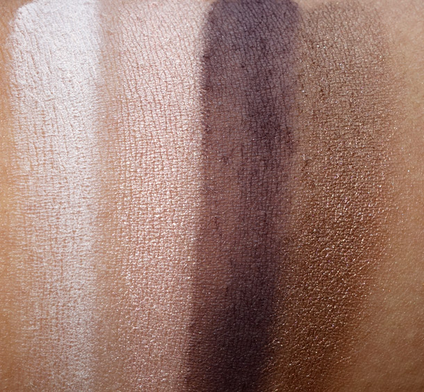 Too Faced Pretty Rebel Palette Swatches from the left: Dainty, Ringleader, Charming and Gangsta