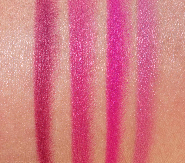 Urban Decay 24/7 Glide On Lip Pencil Swatches from the left: Venom, Jilted, Anarchy and Turn On