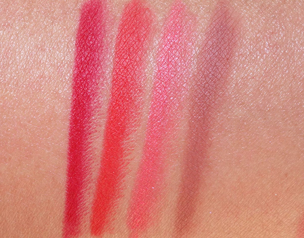 Urban Decay 24/7 Glide On Lip Pencil Swatches from the left: 69, Bang, Streak and Deep