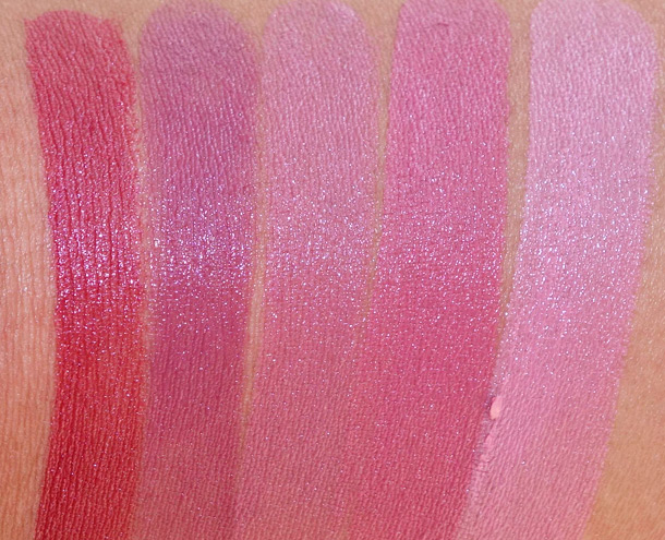 Urban Decay Revolution Lipstick Swatches from the left; Manic, Rapture, Rush, Fiend and Native