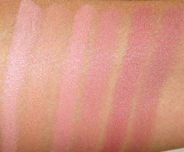 Hourglass Femme Nude Lip Stylo Swatches from the left: No. 1 (a pale pink), No. 2 (a honey beige), No. 3 (a nude rose), No.4 (a pinky beige), No. 5 (a shimmery golden peach) and No. 6 (a mauve beige)