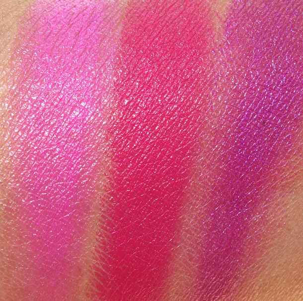 MAC Antonio Lopez: 3 Lips/Fuchsia palette swatches from the left: Candy Yum Yum, Moxie and Violetta