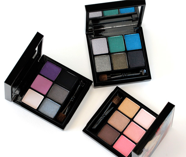 The MAC Antonio Lopez 6 Eyes Palettes clockwise from the left: Violet, Teal and Bronze