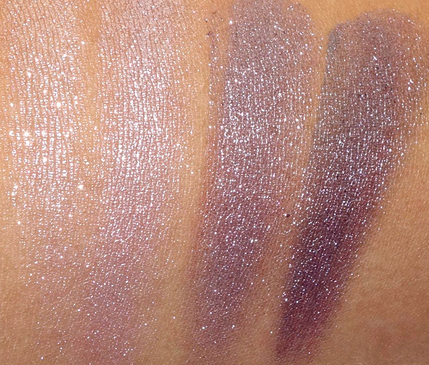 MAC Pressed Pigments Swatches: Moth on the left (wet and dry) and Black Grape on the right (wet and dry)