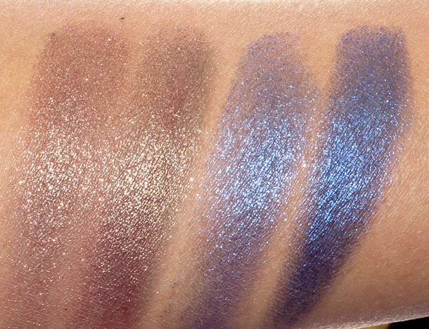 MAC Pressed Pigments Swatches: Damson on the left (wet and dry) and Midnight on the right (wet and dry)