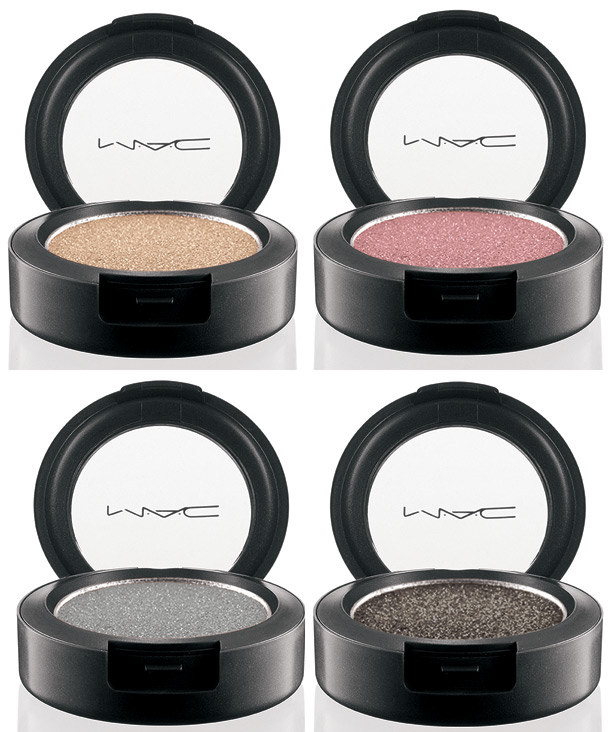 Clockwise from the left: Vanilla Diamond (a warm yellow beige with a frost finish), Sweet Acting (a mid-tone pink with a frost finish), Enlightening (a deep silver with a frost finish) and Jet Couture (a charcoal black with a frost finish)