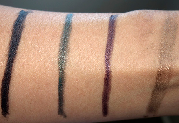 MAC Pro Longwear Liner Swatches from the left: Definitely Black Devotion, Strong Willed and Powerline