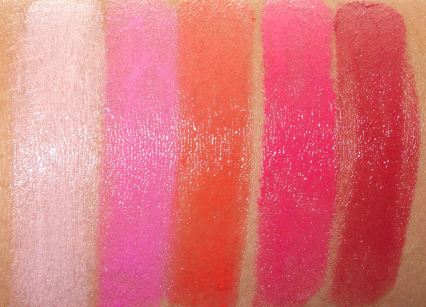 MAC Sheen Supreme Swatches from the left: Pret-a-Pretty, Playtime, Sweet Grenadine, Pleasurefruit and Candy Apple