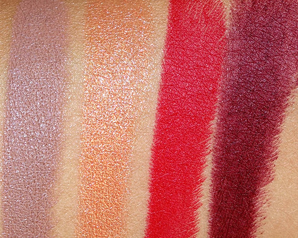 RiRi Hearts MAC Lipstick swatches from the left: Nude, Who's That Chick, RiRi Woo and Talk That Talk
