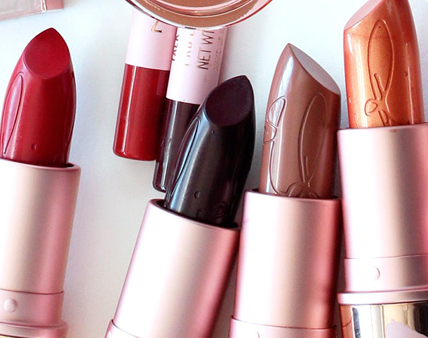 RiRi Hearts MAC Lipsticks from the left: RiRi Woo, Talk That Talk, Nude and Who's That Chick