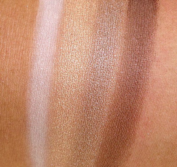 Benefit Groovy Kinda-a Love eyeshadow swatches: Tickle My Ivory, Gilt-y Pleasure, Shimmer Down and Kiss Me I'm Tipsy