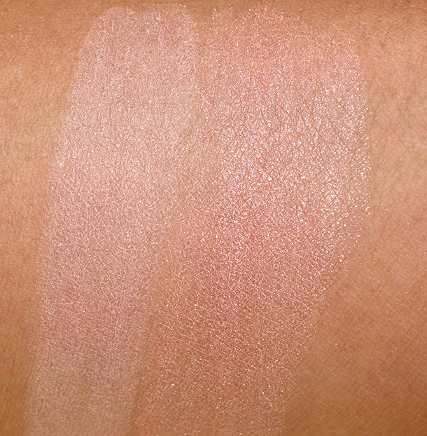Benefit Groovy Kinda-a Love swatches: Dandelion Blush on the left and Gimme Fever Blush on the left