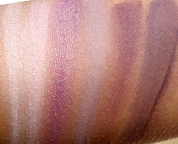 Laura Mercier Artist's Palette 2013 Swatches from the left: Sparkling Dew, Guava, African Violet, Plum Smoke, Kir Royal and Violet Ink