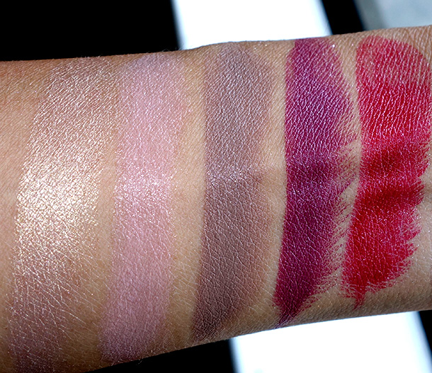 MAC Divine Night Swatches: Lipsticks in You've Got It, Flair for Finery, Exclusive Event, Private Party and Prepare for Pleasure