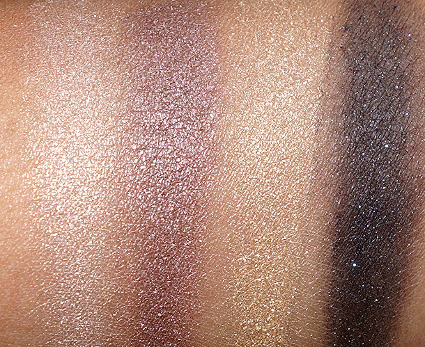 MAC Divine Night Swatches: Mineralize Eye Shadows in Until Dawn (two on the left) and Glided Night (two on the right)