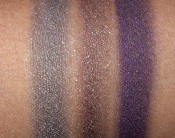 MAC Divine Night Swatches: Fluidlines in Stares & Speculation, Deliciously Rich and Macroviolet