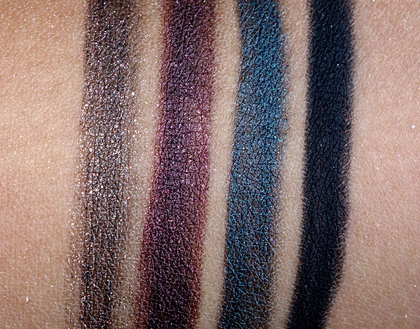 MAC Divine Night Swatches: Kohl Power Eye Pencils in Orpheus, Raven, Mystery and Feline