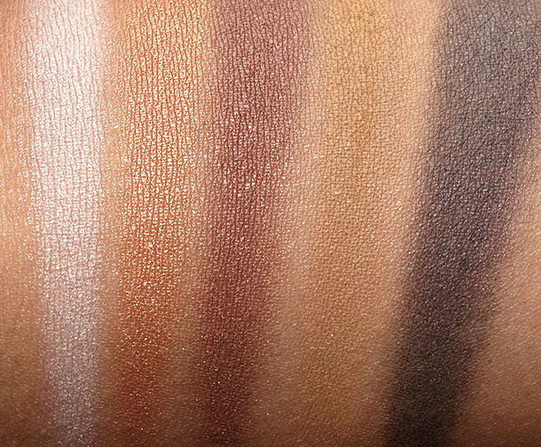 MAC Stroke of Midnight Eyes Warm swatches from the left: Femme Fi, Amber Lights, Mulch, Socialite and Midnight Hour