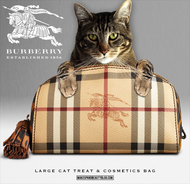 Tabs the Cat for the Burberry Large Cat Treats and Cosmetics Bag