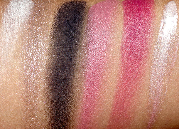 Bobbi Brown Date Night Lip & Eye Palette Swatches from the left: Ivory Eye Shadow, Strom Cloud Sparkle Eye Shadow, Caviar Eye Shadow, Sandwash Pink Lip Color, Berry Punch Lip Color and Diamond Pink High Shimmer Lip Gloss