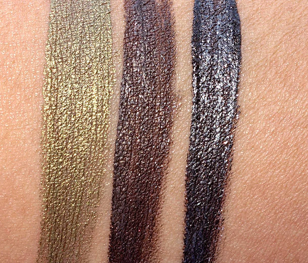 Jouer Liquid Shimmer Eyeliner Swatches from the left: Lynx, Leopard and Panther