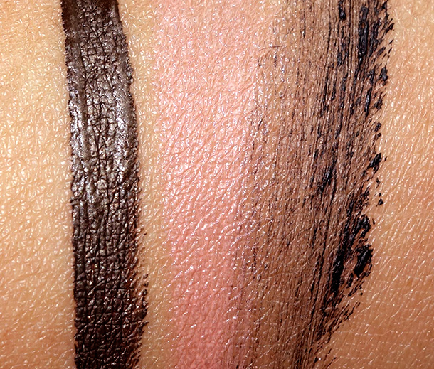 Jouer Party Perfect swatches from the left: Leopard liner, Meg lipstick and Noir mascara