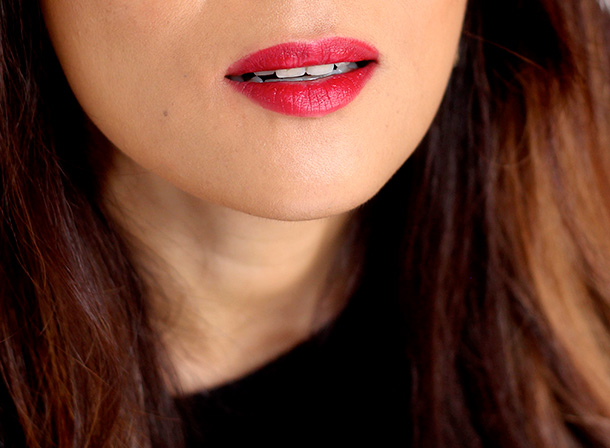 Jouer Simone Lipstick, a brilliant true red that flatters with cool-toned brunettes