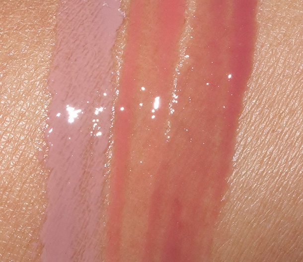 Sigma Enlight Collection Lip Gloss Swatches from the left: Hint, Tint and Tranquil