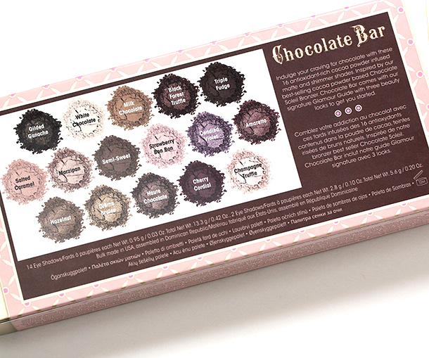 The back of the Too Faced Chocolate Box