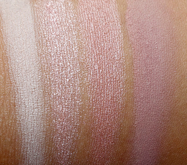 Urban Decay Naked3 swatches from the left: Strange, Dust, Burnout and Limit