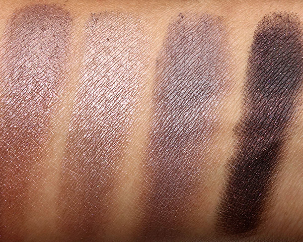 Urban Decay Naked3 swatches from the left: Factory, Mugshot, Darkside and Blackheart