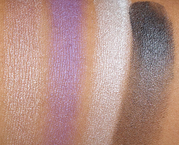 theBalm Balm Voyage Holiday Face Palette Eyeshadow swatches from the left: A1, A2, A3 and A4