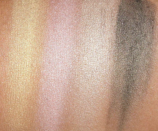 theBalm Balm Voyage Holiday Face Palette Eyeshadow swatches from the left: D1, D2, D3 and D4