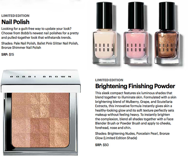Bobbi Brown Nude Glow Collection Shimmer Brick and Nail Polishes