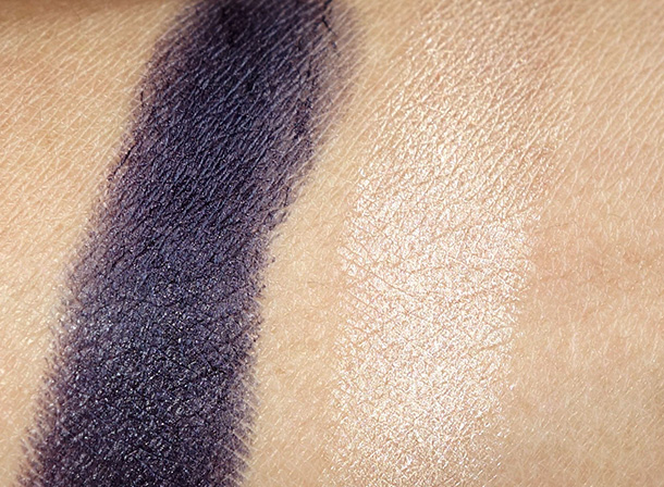 Flower Beauty Eyes on the Prize Eyeshadow Chubby Swatches in Dark Side of the Blue (left) and Saffodil With It (right)