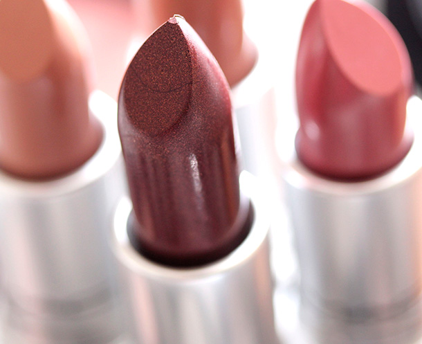 MAC Carnal Instinct Lipstick, a deep brick red with golden pearl and a frost finish
