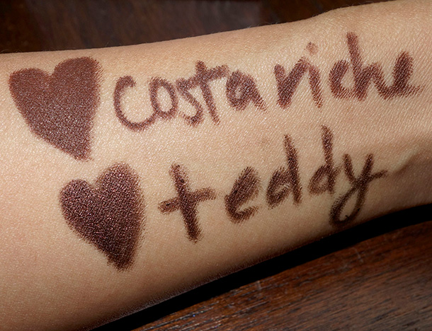 MAC Costa Riche and Teddy swatches