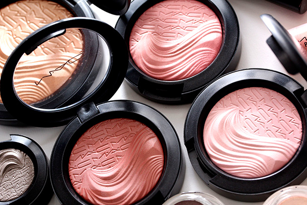 The four new MAC Magnetic Nude Extra Dimension Blushes, $25 each US and $29.50 CAN