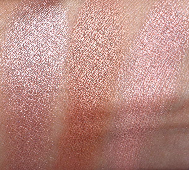 MAC Magnetic Nude Swatches, Extra Dimension Skinfinishes from the left: Superb, Magnetic Appeal and Fairly Precious