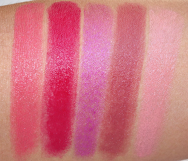 Too Faced La Creme Spring 2014 swatches in Bon Bon, Jelly Bean, Lollipop, Pink Chocolate an Taffy