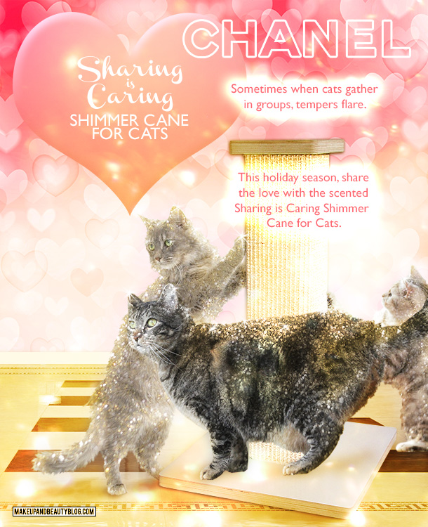 Tabs the Cat for the Chanel Sharing is Caring Shimmer Cane