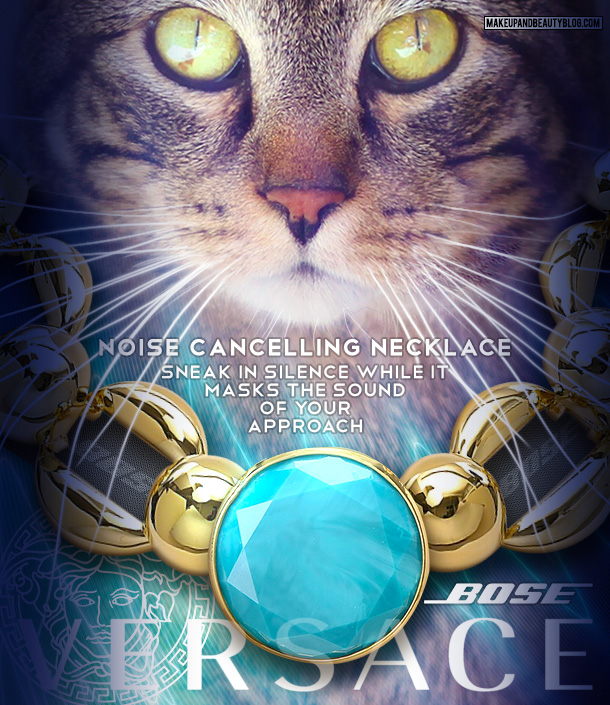 Tabs the Cat for the Versace Noise Cancelling Necklace